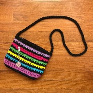 multicolor woven crochet crossbody bag